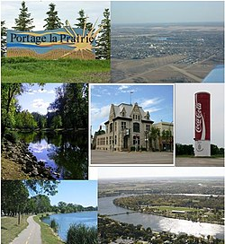 Clockwise from top left to centre: City Welcome Sign, Aerial View of Portage la Prairie, World's Largest Coca-Cola Can, Birds' Eye View of Crescent Lake and Island Park, Waterfront Active Transport Route, Island Park, City Hall