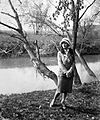 Portrait, woman, shore, water surface, reed, lady, costume, fur, hat Fortepan 11720.jpg
