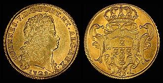 Portuguese escudo - Portuguese 8 gold escudos (1729)