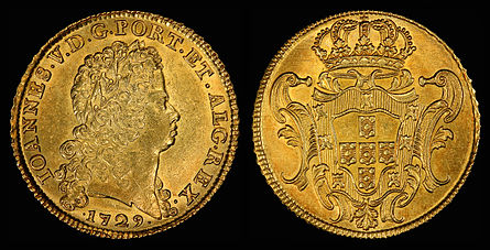 Braganza coat of arms on the reverse of a 1729 eight gold escudo coin (depicting João V on the front).