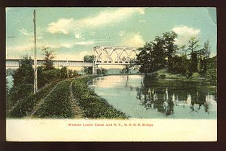 Enfield Falls Canal - Windsor Locks Canal and railroad bridge (postcard mailed in 1909)