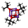 Ball-and-stick model of the cubane tetramer that potassium tert-butoxide adopts in