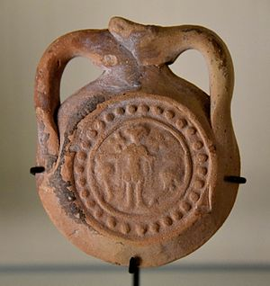 Saint Menas - Pottery pilgrim bottle, for storing water from the spring of Saint Menas. Byzantine period. From Alexandria, Egypt. The Petrie Museum of Egyptian Archaeology, London