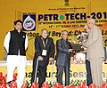 Pranab Mukherjee presenting the Life Time Achievement Award to Shri S.J. Chopra, at the 10th International Oil & Gas Conference and Exhibition - Petrotech-2012.jpg