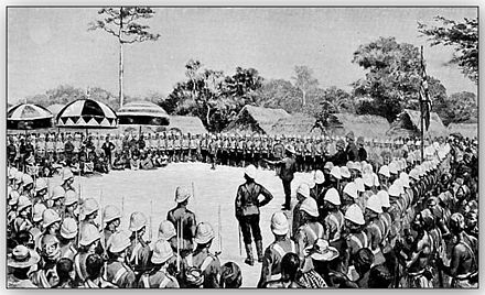 Following the Fourth Anglo-Ashanti War in 1896, the British proclaimed a protectorate over the Ashanti Kingdom. Prempeh-124-palaver-and-submission.jpg