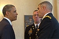 President Barack Obama speaks with U.S. Army Maj. Gen. Michael S. Linnington, right, the commanding general of Joint Force Headquarters-National Capital Region and the U.S. Army Military District of Washington 130527-A-VS818-214.jpg