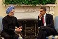 President Barack Obama with Prime Minister Manmohan Singh 2009-11-24(2).jpg