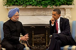 =Manmohan Singh with American President Barack Obama at the White House