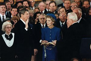 Second inauguration of Ronald Reagan - Ronald Reagan takes the oath of office for his second term.