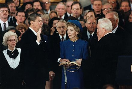 Reagan is sworn in for a second term as president by Chief Justice Burger in the Capitol rotunda President Reagan being sworn in for second term in the rotunda at the U.S. Capitol 1985.jpg