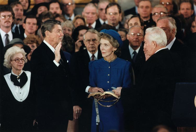 President Reagan being sworn in for second term in the rotunda at the U.S. Capitol 1985