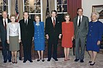 President and Mrs. Bush pose with the former presidents and first ladies in the replica of the Oval Office at the... - NARA - 186441 (cropped).jpg