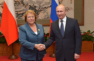 Foreign relations of Chile - Michelle Bachelet with Russian President Vladimir Putin, 9 November 2014