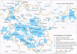 The hyper-fragmented Principality of Ansbach Principality of Ansbach 1791.png