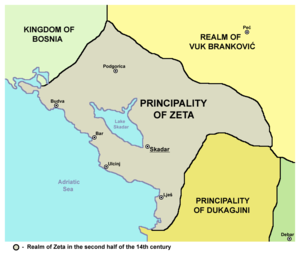 Zeta under the Balšići - Image: Principality of Zeta