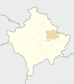 Location of the city of Pristina within Kosovo