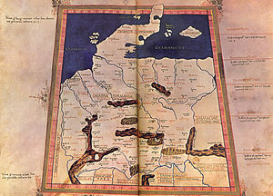Germania - Germania in the Roman 2nd century view of the world; after Ptolemy in a map of the 15th century