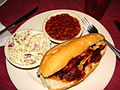 Pulled chicken, cole slaw, and beans at Squeal.jpg