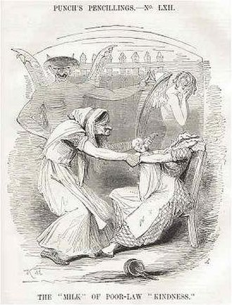 English Poor Laws - Punch criticized the New Poor Law's workhouses for splitting mothers and their infant children.