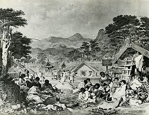 Pā - Pūtiki pā on the Whanganui River in 1850