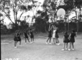 Queensland State Archives 1641 Teachers Training College physical education womens basketball Brisbane April 1951.png