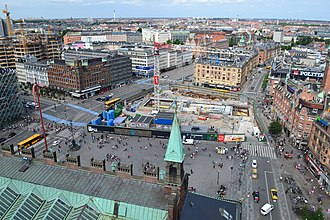 City Hall Square, Copenhagen - Rådhuspladsen by day, seen from the town hall tower