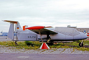 Rhein Flugzeugbau RW 3 Multoplan - RW 3.P75 Multoplan No. 22 at Stuttgart Echterdingen airport in 1965 showing the propellor layout within the vertical fin