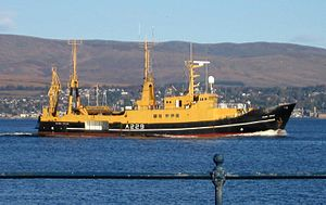 Royal Maritime Auxiliary Service - Research vessel Colonel Templer passing Greenock on the Firth of Clyde