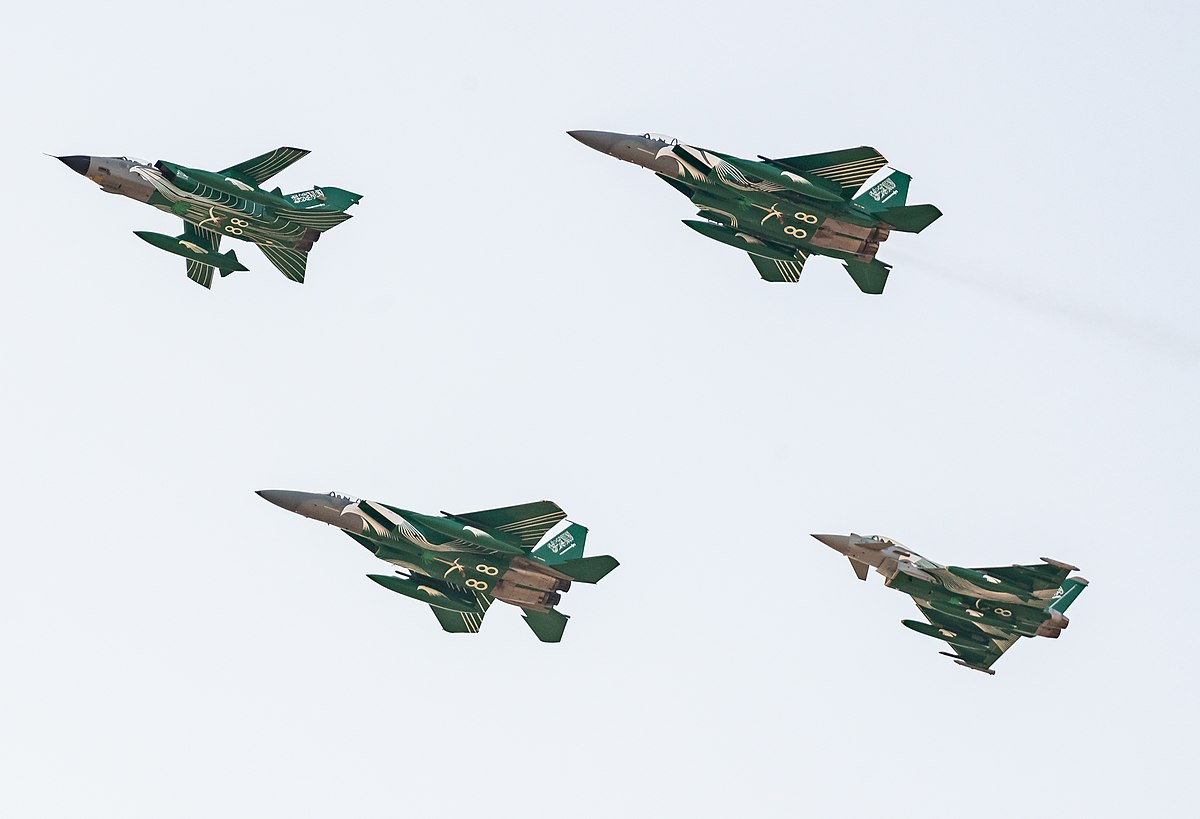 RSAF (Royal Saudi Air Force) jets in special livery for the 88th National Day Celebrations (44382106094).jpg