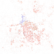 Map Of Racial Distribution In Tulsa 2010 U S Census Each Dot Is 25 People White Black Asian Hispanic Or Other Yellow