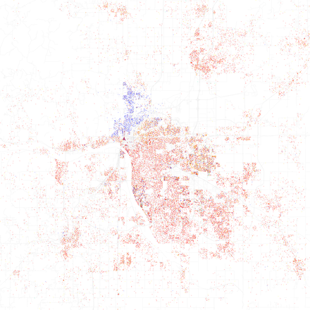 Map of racial distribution in Tulsa, 2010 U.S. Census. Each dot is 25 people: White, Black, Asian, Hispanic or Other (yellow) Race and ethnicity 2010- Tulsa (5560454596).png