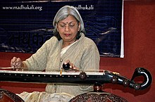 Ragini Trivedi playing Vichitra Veena, Indore MP India, Jan 2012.jpg