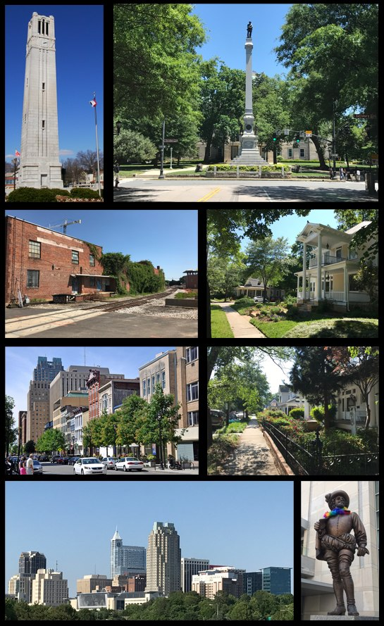 Clockwise from top left: NC State bell tower, the North Carolina State Capitol, houses in Boylan Heights, houses in Historic Oakwood, statue of Sir Walter Raleigh, skyline of the downtown, Fayetteville Street, and the warehouse district