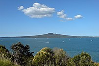 Rangitoto Island as seen from the path around North Head, in Auckland, New Zealand.