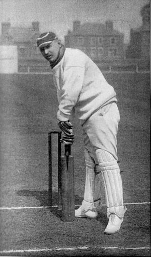 Arthur Shrewsbury - Image: Ranji 1897 page 215 Shrewsbury playing back