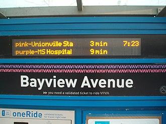 Viva Rapid Transit - Viva's vivasmart display showing real-time vehicle arrival information