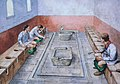 Reconstruction drawing showing the communal latrines in use, Housesteads Roman Fort (Vercovicium) (30696479498).jpg