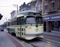 Refurbished F-line trolleys, purchased from Philadelphia, run out Market Street to the Castro neighborhood in San Francisco, California LCCN2011631779.tif