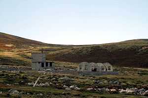 Ajax Bay - Image: Remains of the British military field hospital in Ajax Bay, the Falklands (2008 01 13)