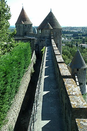 Rampart (fortification) - The rampart of the Cité de Carcassonne in the Aude department of France. Originally constructed in the 4th century AD by the Romans, they were largely rebuilt in 1240 and heavily restored in the 19th century.