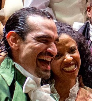 Renée Elise Goldsberry -  Goldsberry (right) with co-star Javier Muñoz in costume for Hamilton