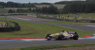 Knockhill Racing Circuit - A Renault Formula 1 car at Clark's corner