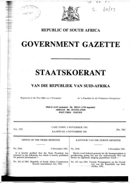 File:Republic of South Africa Constitution Second Amendment Act 1981.djvu