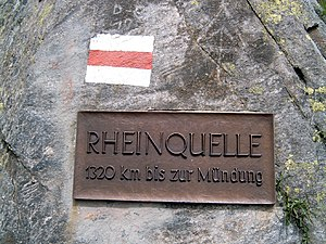 "Sources of the Rhine -  Sign ""source of the Rhine"" at the Lake Toma"