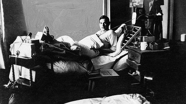 Richard Sorge in the hospital, during World War I.