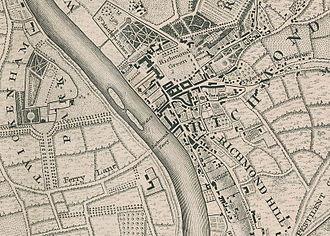 Richmond Bridge, London - Richmond, Twickenham Park and the route of the Richmond Ferry in 1746