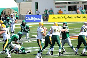 Ricky Ray - Ray (15) dropping back to pass against the Saskatchewan Roughriders in 2007.