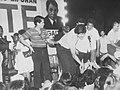 Ricky Yabut after the victory speech of his father, Nemesio Yabut.jpg