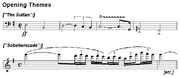 Two staves of music, one with a loud, forceful theme and the second with a softer, more undulating theme