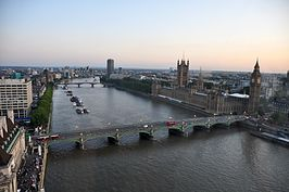 Westminster Bridge vanuit het London Eye